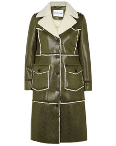 Adele army green faux leather coat