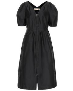 Silk-blend midi dress