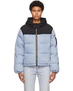 蓝色Hybrid漂洗丹宁填充夹克