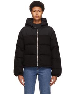 黑色Hybrid丹宁填充夹克