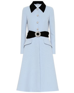 Velvet-trimmed wool coat