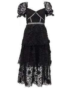 Tiered floral guipure-lace midi dress