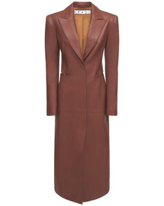 Padded Shoulder Leather Trench Coat