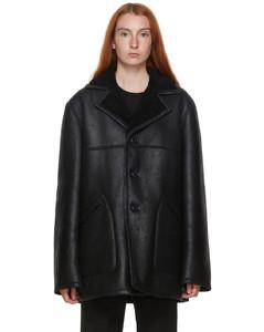 黑色剪羊毛小羊皮夹克