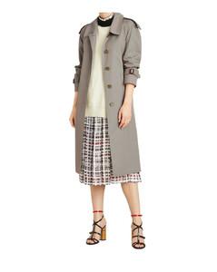 Side-slit tropical gabardine trench coat