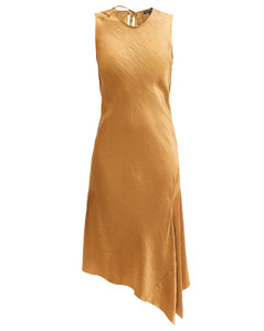 Asymmetric-hem crinkled-satin dress