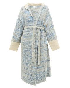 Longline bouclé-knit cotton-blend hooded cardigan