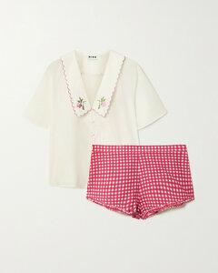 Flora Embroidered Cotton-poplin Pajama Set