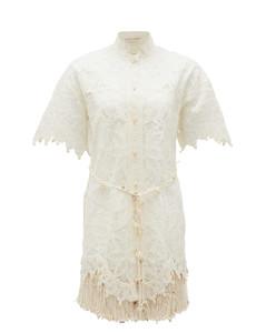 Wavelength shell-embellished silk dress