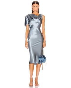 Asymmetrical Cowl Dress in Blue
