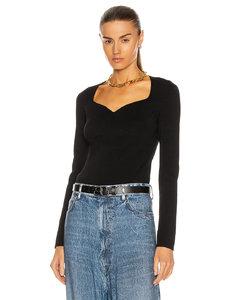 Long Sleeve Heartneck Sweater in Black