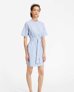 The Cotton Collarless Belted Shirtdress