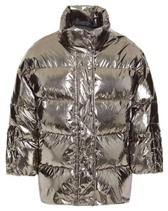 Redvalentino Woman Quilted Coated Metallic Shell Jacket