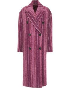 Woman Double-breasted Herringbone Wool-blend Jacquard Coat