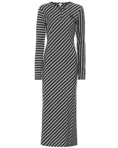Striped stretch-cotton maxi dress