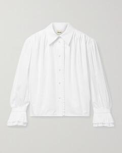 Vanina Ruffled Pleated Cotton-poplin Blouse