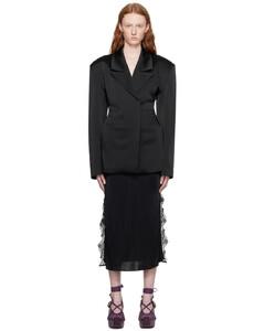 鋸齒形圖案針織加長連衣裙