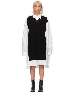 白色 & 黑色V领毛衣衬衫连衣裙