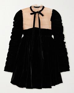 Ann Tie-detailed Ruched Velvet And Tulle Mini Dress