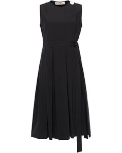 Flared pleated button-embellished cotton-poplin dress