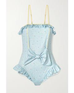 Edna蝴蝶结缀饰绑带式花卉印花连体泳衣