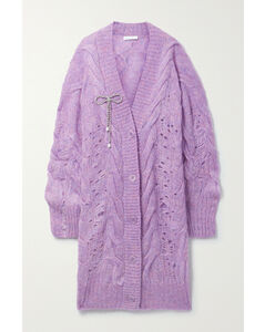 Oversized Embellished Cable-knit Mohair-blend Cardigan