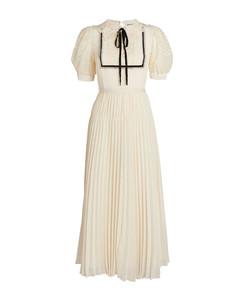 Chiffon Lace-Collar Midi Dress