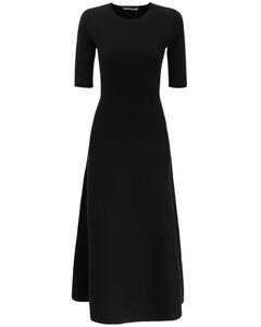 Flared Wool Blend Knit Midi Dress