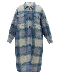 Gabrion single-breasted checked wool-blend coat