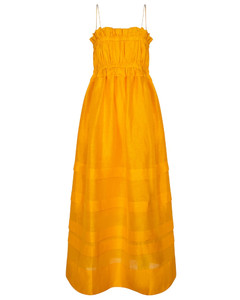 Canary亚麻和真丝加长连衣裙