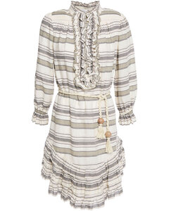 Ruffled striped linen and cotton-blend mini dress