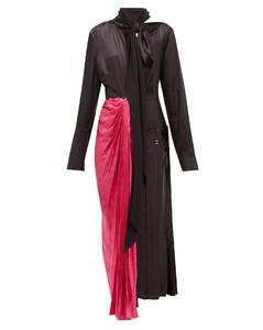 Necktie asymmetric satin midi dress