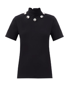 Crystal tie-neck organic cotton-jersey T-shirt