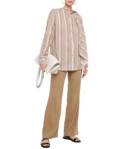 Woman Sue Tie-neck Striped Cotton-voile Blouse