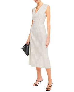 Noaim pinstriped cotton and linen-blend midi dress