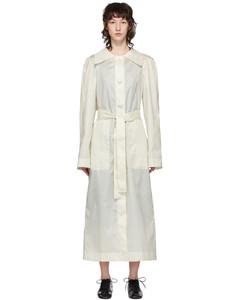 白色油蜡涂层真丝风衣