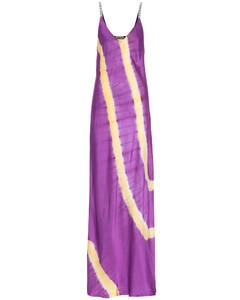 扎染緞布吊帶加長連衣裙