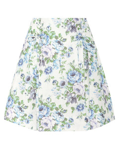 花卉亚麻半身裙