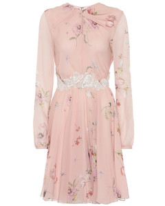 Floral lace-trimmed silk crêpe dress