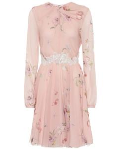Floral lace-trimmed silk crêpe dress