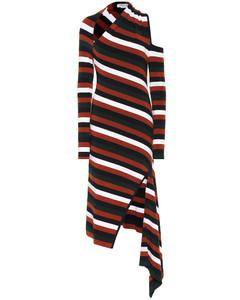 Striped merino wool-blend midi dress