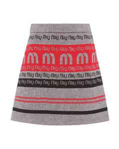 Logo wool-blend knitted skirt