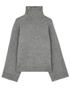 Grey mélange wool-blend jumper
