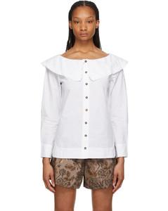 白色荷叶边衬衫