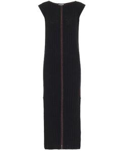 羅紋針織真絲中長連衣裙