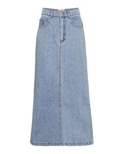 Claudia牛仔高腰中长半身裙