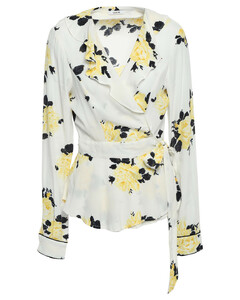 Woman Silvery Ruffled Floral-print Crepe Wrap Top