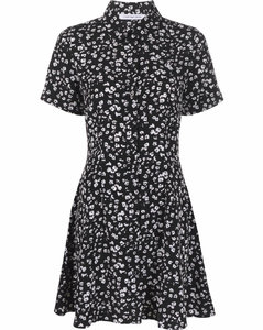 Floral-pattern high-rise flared wool-blend trousers