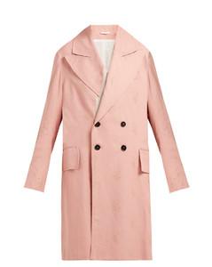 Alexa rose-jacquard oversized cotton-blend coat