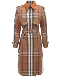 Rinham Check Cotton Belted Trench Coat